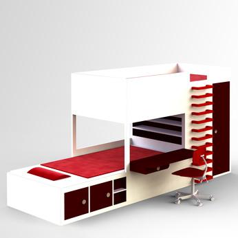 modernes hochbett mit stauraum und schreibtisch yvart. Black Bedroom Furniture Sets. Home Design Ideas